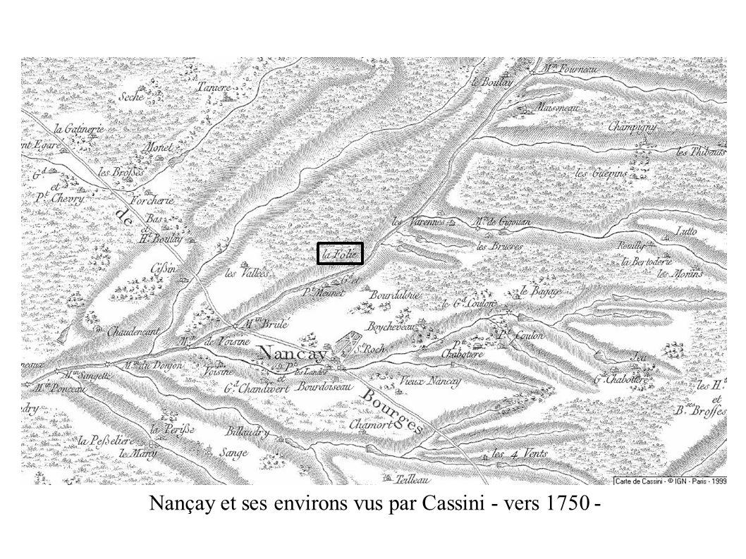 Nançay et ses environs vus par Cassini - vers 1750 - 1747 Louis XV charge Cassini de Thury de dresser une carte du royaume à l echelle 1/86400: une ligne pour 100 toises (Quid 91)