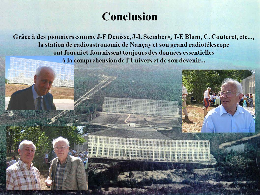 Conclusion Grâce à des pionniers comme J-F Denisse, J-L Steinberg, J-E Blum, C.