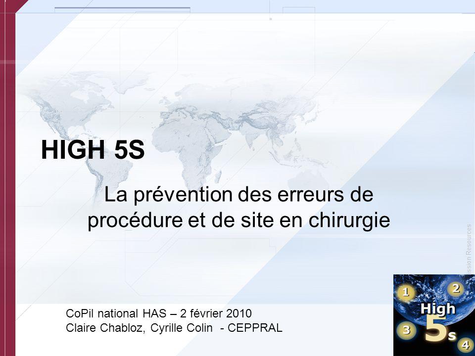 © Copyright, Joint Commission Resources Points présentés –Le protocole « Prévention des erreurs de procédure et de site en chirurgie » –État d'avancement du pré-test –Recrutement des établissements