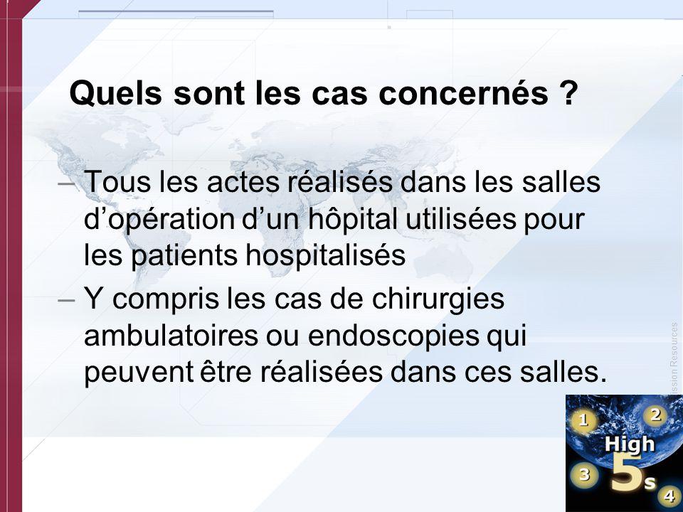 © Copyright, Joint Commission Resources Quels sont les cas concernés ? –Tous les actes réalisés dans les salles d'opération d'un hôpital utilisées pou