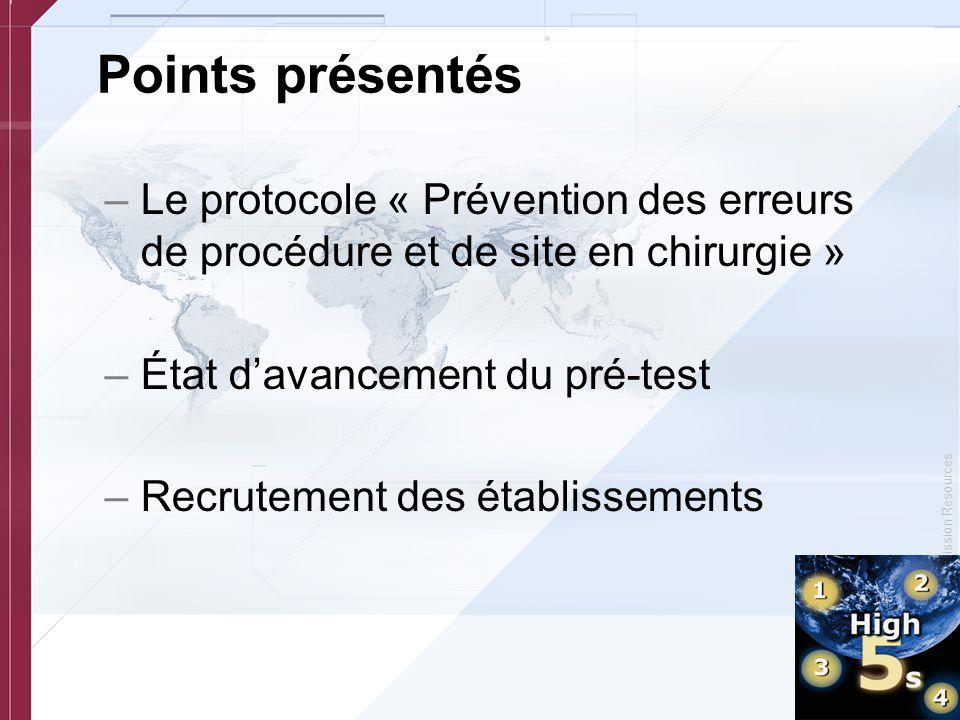 © Copyright, Joint Commission Resources Points présentés –Le protocole « Prévention des erreurs de procédure et de site en chirurgie » –État d'avancem