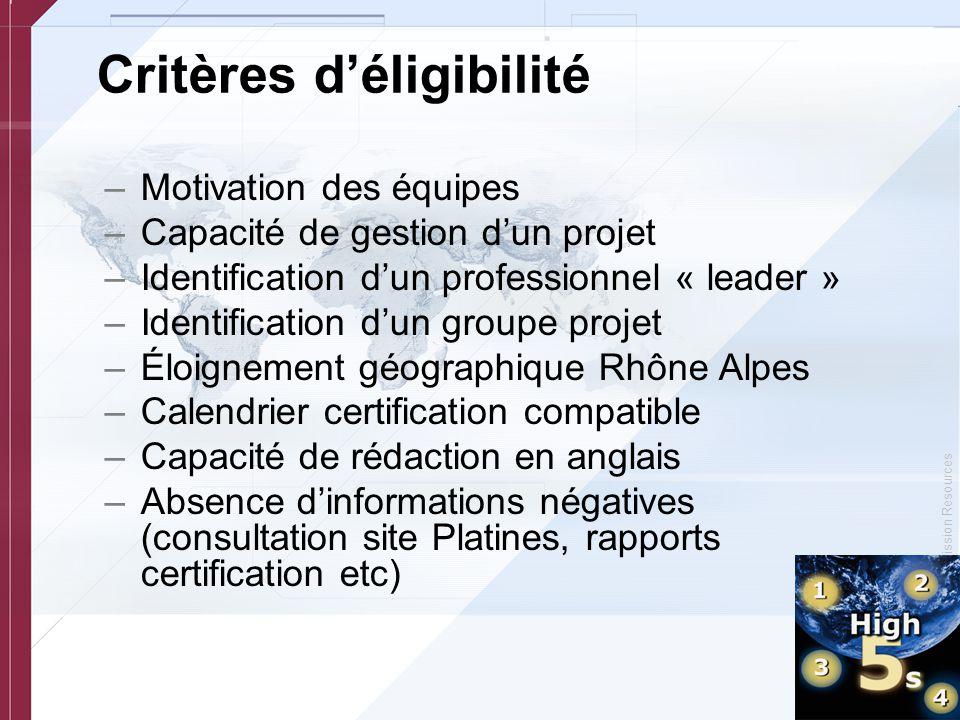 © Copyright, Joint Commission Resources Critères d'éligibilité –Motivation des équipes –Capacité de gestion d'un projet –Identification d'un professio