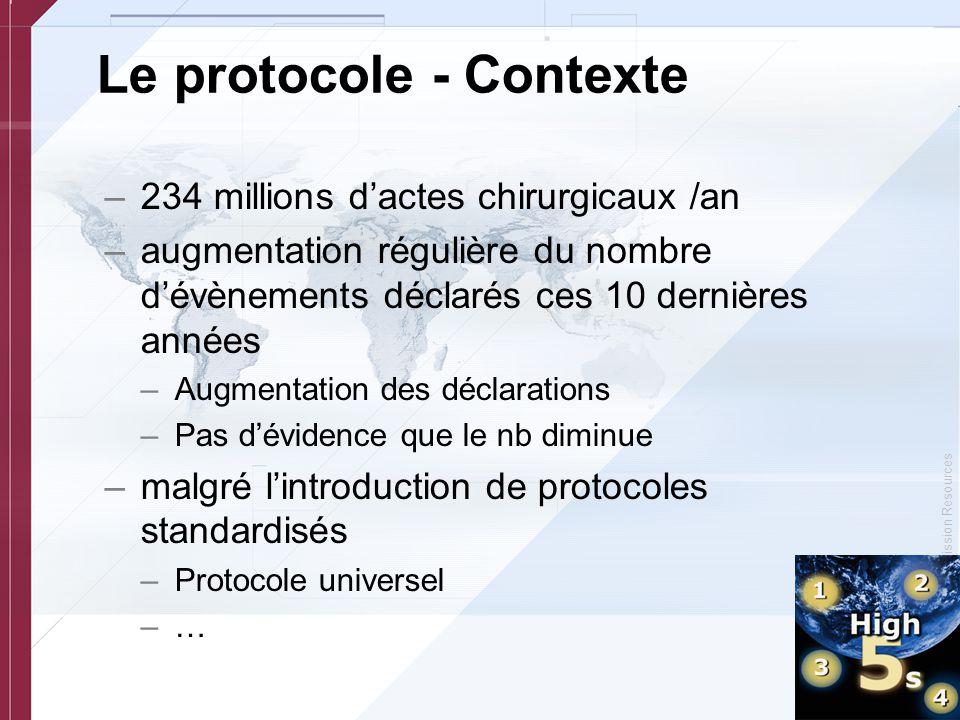 © Copyright, Joint Commission Resources Le protocole - Contexte –234 millions d'actes chirurgicaux /an –augmentation régulière du nombre d'évènements