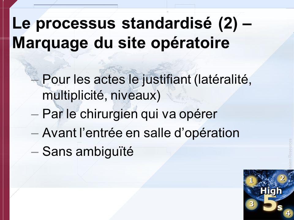 © Copyright, Joint Commission Resources –Pour les actes le justifiant (latéralité, multiplicité, niveaux) –Par le chirurgien qui va opérer –Avant l'en