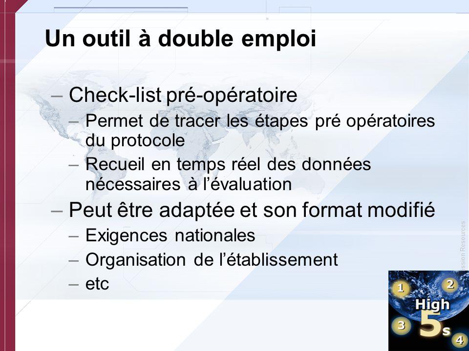 © Copyright, Joint Commission Resources Un outil à double emploi –Check-list pré-opératoire –Permet de tracer les étapes pré opératoires du protocole