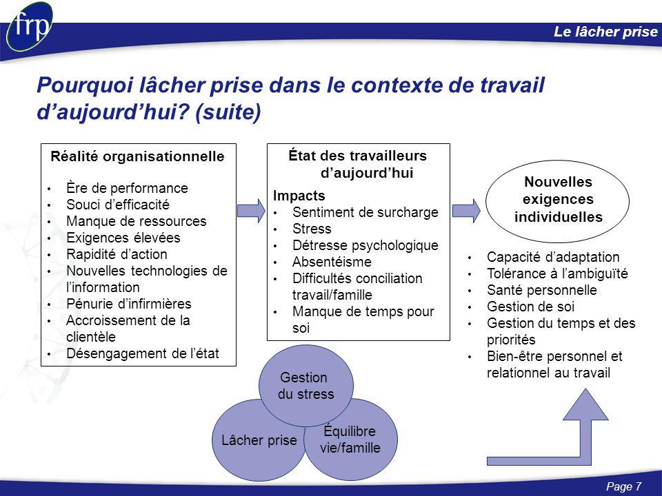 Page 7 Le lâcher prise Réalité organisationnelle Ère de performance Souci d'efficacité Manque de ressources Exigences élevées Rapidité d'action Nouvel