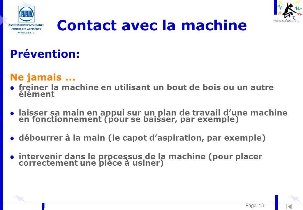 www.safestart.lu Page: 13 Contact avec la machine Prévention: Ne jamais...