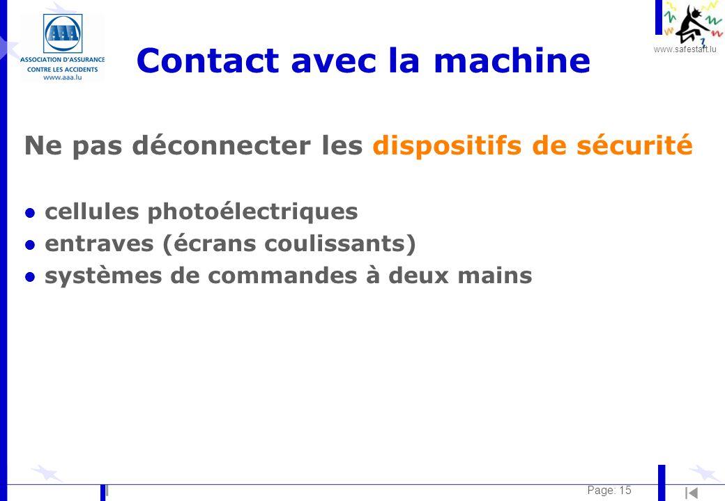 www.safestart.lu Page: 15 Contact avec la machine Ne pas déconnecter les dispositifs de sécurité l cellules photoélectriques l entraves (écrans coulissants) l systèmes de commandes à deux mains