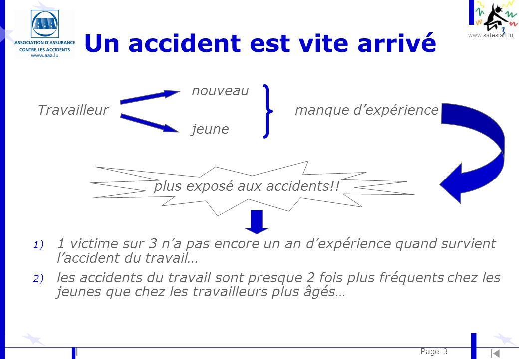 www.safestart.lu Page: 3 Un accident est vite arrivé nouveau Travailleur manque d'expérience jeune plus exposé aux accidents!.