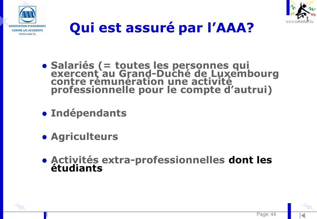 www.safestart.lu Page: 44 Qui est assuré par l'AAA.