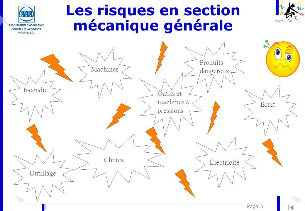 www.safestart.lu Page: 5 Les risques en section mécanique générale Incendie Machines Bruit Chutes Outillage Outils et machines à pressions Électricité Produits dangereux