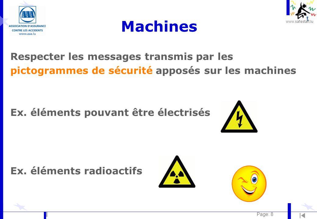 www.safestart.lu Page: 8 Machines Respecter les messages transmis par les pictogrammes de sécurité apposés sur les machines Ex.