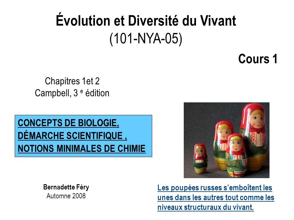 1.L'organisation complexe du vivant 2.Les caractéristiques du vivant 3.Les organismes sont des systèmes ouverts 4.La cellule est l'unité structurale et fonctionnelle de tout être vivant 5.La perpétuation de la vie repose sur l'information héréditaire de l'ADN (acide désoxyribonucléique) 6.Les deux grands types de cellules : procaryotes et eucaryotes 7.Les propriétés émergentes 8.La vie présente une grande diversité mais aussi une grande unité 9.Le processus de l'évolution explique la diversité et l'unité de la vie 10.La taxinomie, la science de la classification, classe les êtres vivants en trois domaines (l'arbre taxinomique reflète l'évolution) 11.Il existe une corrélation entre la structure et la fonction Partie 1 : Les concepts fondamentaux en biologie