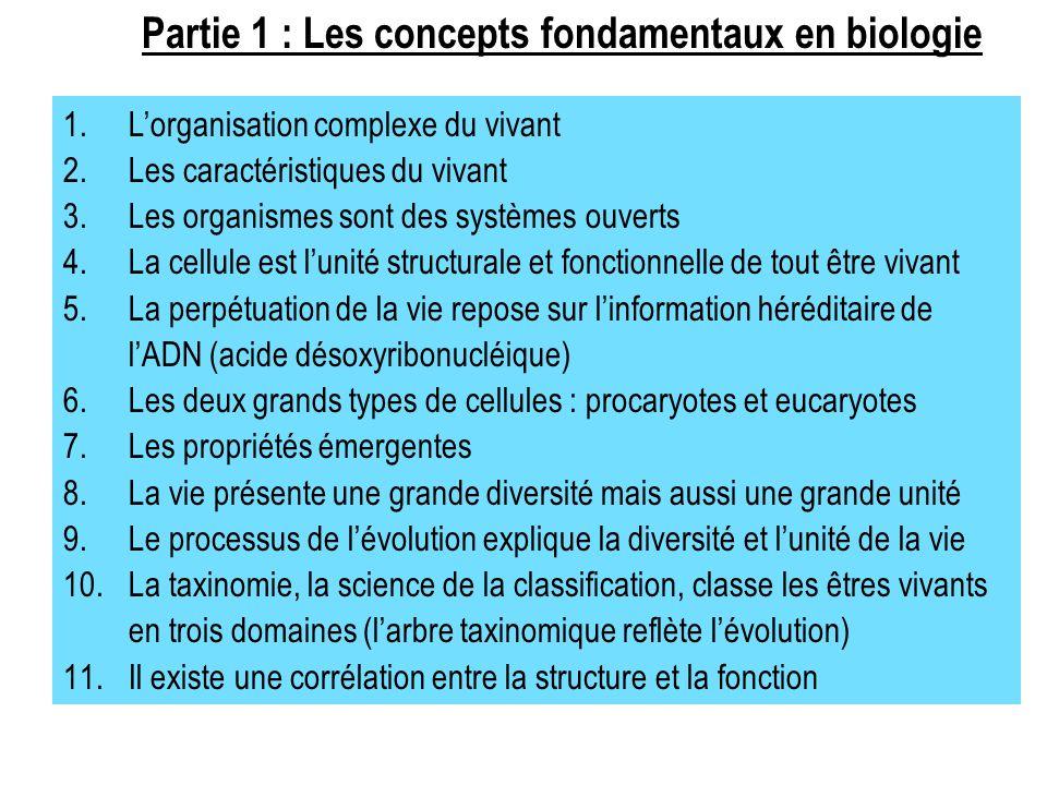 1.L'organisation complexe du vivant 2.Les caractéristiques du vivant 3.Les organismes sont des systèmes ouverts 4.La cellule est l'unité structurale e