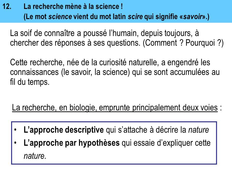 12.La recherche mène à la science ! (Le mot science vient du mot latin scire qui signifie « savoir ».) La soif de connaître a poussé l'humain, depuis