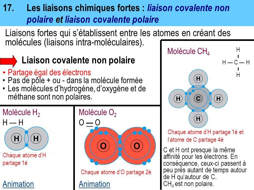 17.Les liaisons chimiques fortes : liaison covalente non polaire et liaison covalente polaire Liaison covalente non polaire Partage égal des électrons