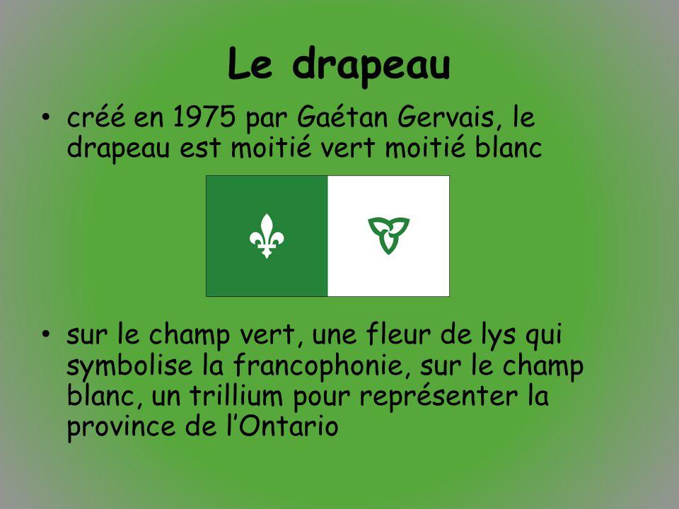 Le drapeau créé en 1975 par Gaétan Gervais, le drapeau est moitié vert moitié blanc sur le champ vert, une fleur de lys qui symbolise la francophonie,