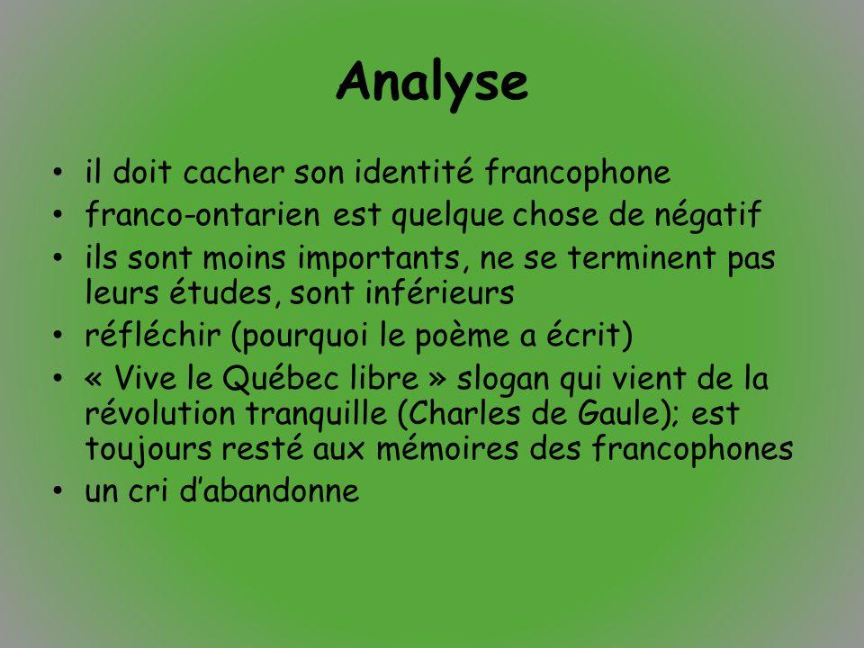 Analyse il doit cacher son identité francophone franco-ontarien est quelque chose de négatif ils sont moins importants, ne se terminent pas leurs étud