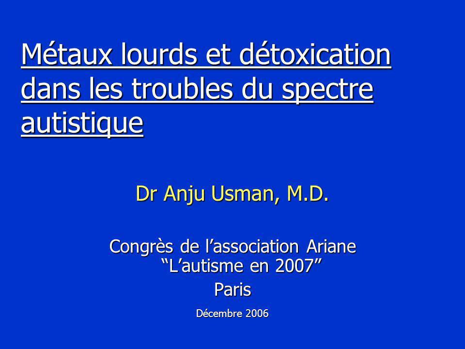 Métaux lourds et détoxication dans les troubles du spectre autistique Dr Anju Usman, M.D.