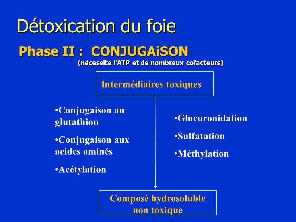 Détoxication du foie Phase II : CONJUGAiSON (nécessite l'ATP et de nombreux cofacteurs) Intermédiaires toxiques Composé hydrosoluble non toxique Glucuronidation Sulfatation Méthylation Conjugaison au glutathion Conjugaison aux acides aminés Acétylation
