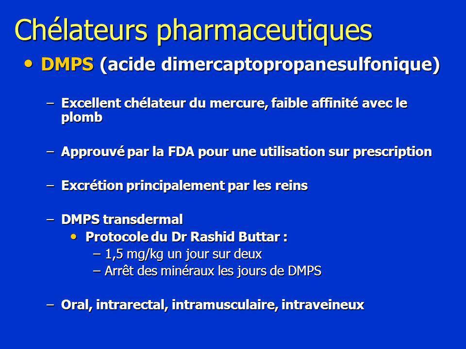 Chélateurs pharmaceutiques DMPS (acide dimercaptopropanesulfonique) DMPS (acide dimercaptopropanesulfonique) –Excellent chélateur du mercure, faible affinité avec le plomb –Approuvé par la FDA pour une utilisation sur prescription –Excrétion principalement par les reins –DMPS transdermal Protocole du Dr Rashid Buttar : Protocole du Dr Rashid Buttar : –1,5 mg/kg un jour sur deux –Arrêt des minéraux les jours de DMPS –Oral, intrarectal, intramusculaire, intraveineux