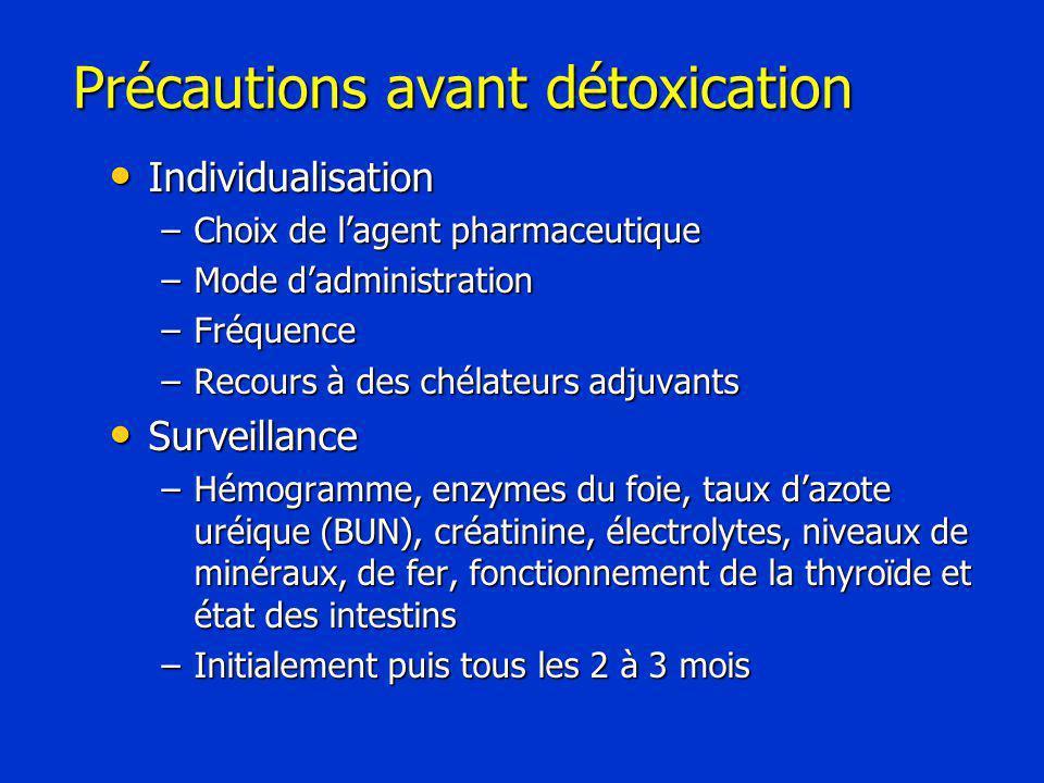 Précautions avant détoxication Individualisation Individualisation –Choix de l'agent pharmaceutique –Mode d'administration –Fréquence –Recours à des chélateurs adjuvants Surveillance Surveillance –Hémogramme, enzymes du foie, taux d'azote uréique (BUN), créatinine, électrolytes, niveaux de minéraux, de fer, fonctionnement de la thyroïde et état des intestins –Initialement puis tous les 2 à 3 mois