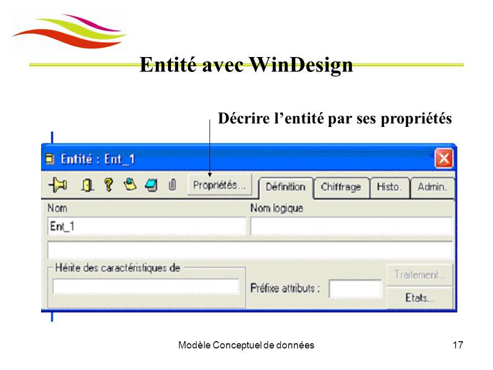 Modèle Conceptuel de données17 Entité avec WinDesign Décrire l'entité par ses propriétés