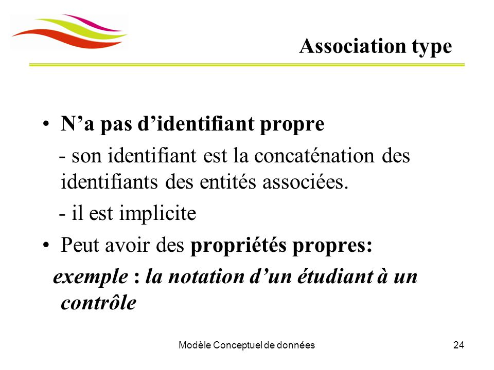 Modèle Conceptuel de données24 Association type N'a pas d'identifiant propre - son identifiant est la concaténation des identifiants des entités assoc