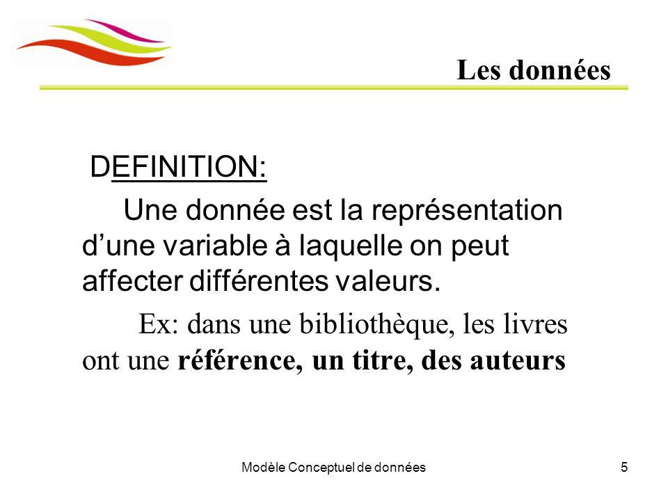 Modèle Conceptuel de données5 Les données DEFINITION: Une donnée est la représentation d'une variable à laquelle on peut affecter différentes valeurs.