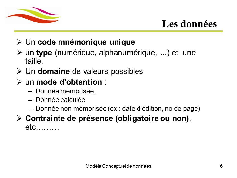 Modèle Conceptuel de données6 Les données  Un code mnémonique unique  un type (numérique, alphanumérique,...) et une taille,  Un domaine de valeurs