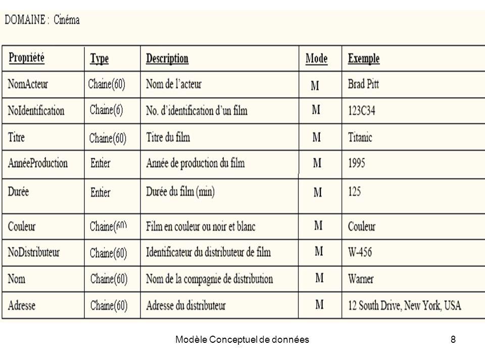 Modèle Conceptuel de données8 Exemple de dictionnaire