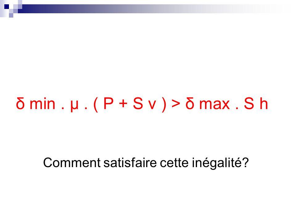 δ min. μ. ( P + S v ) > δ max. S h Comment satisfaire cette inégalité?