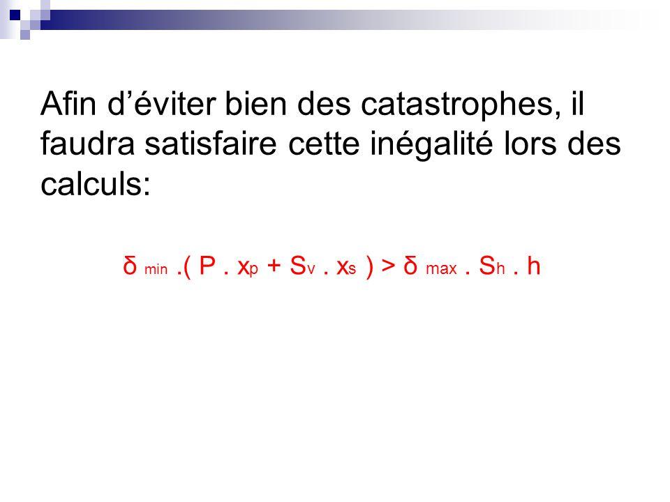 Afin d'éviter bien des catastrophes, il faudra satisfaire cette inégalité lors des calculs: δ min.( P. x p + S v. x s ) > δ max. S h. h