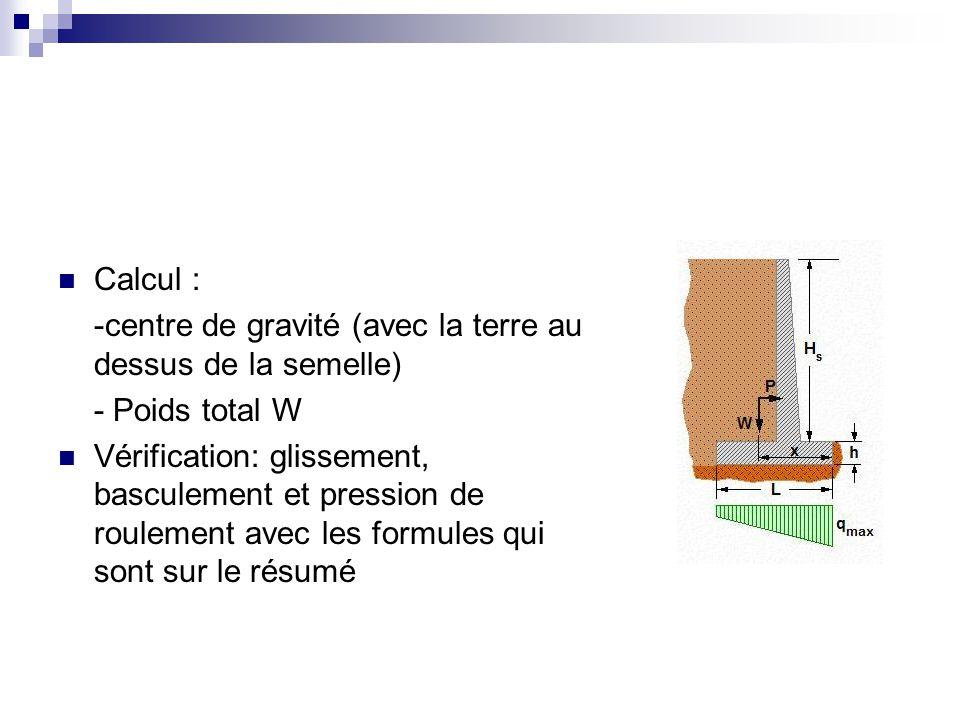 Calcul : -centre de gravité (avec la terre au dessus de la semelle) - Poids total W Vérification: glissement, basculement et pression de roulement ave