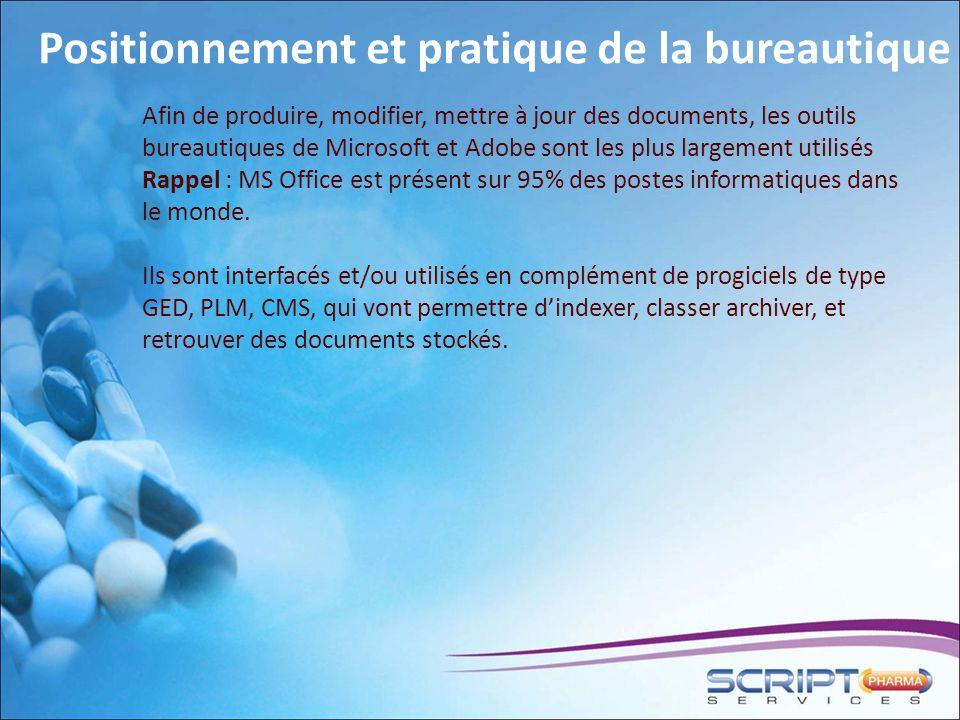 Afin de produire, modifier, mettre à jour des documents, les outils bureautiques de Microsoft et Adobe sont les plus largement utilisés Rappel : MS Office est présent sur 95% des postes informatiques dans le monde.