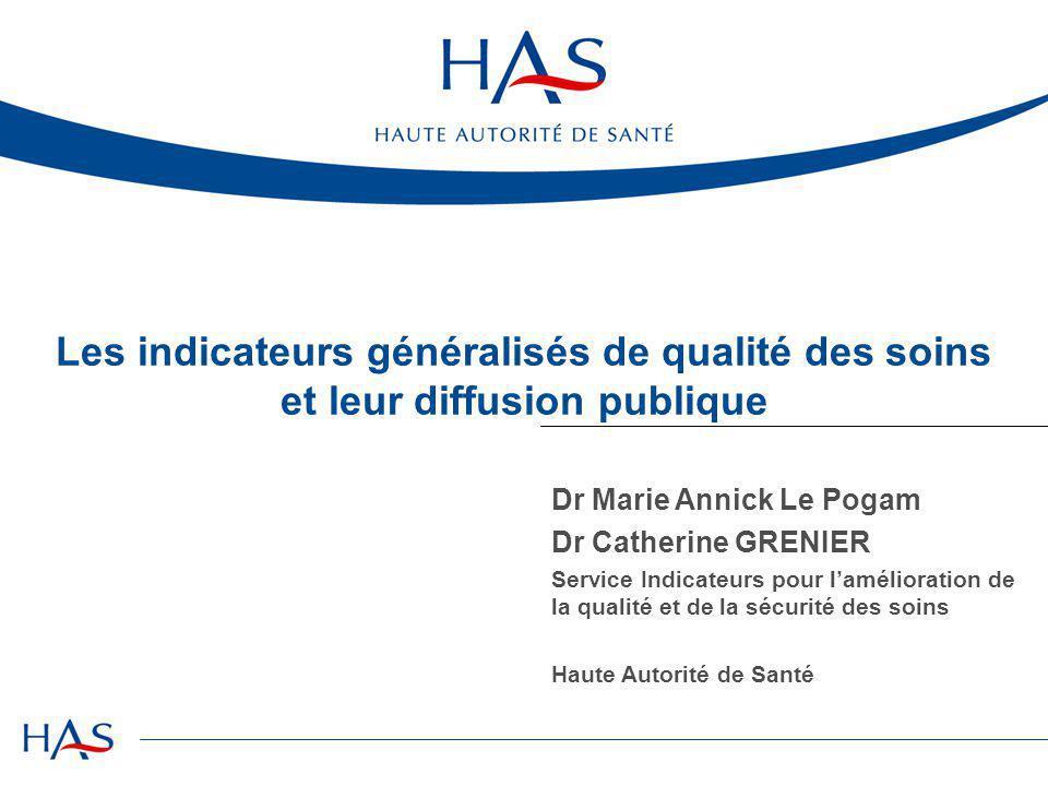 Les indicateurs généralisés de qualité des soins et leur diffusion publique Dr Marie Annick Le Pogam Dr Catherine GRENIER Service Indicateurs pour l'a