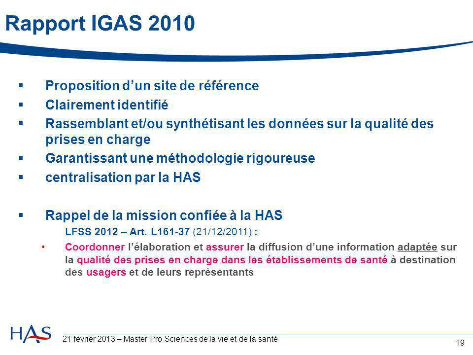 21 février 2013 – Master Pro Sciences de la vie et de la santé 19 Rapport IGAS 2010  Proposition d'un site de référence  Clairement identifié  Rass