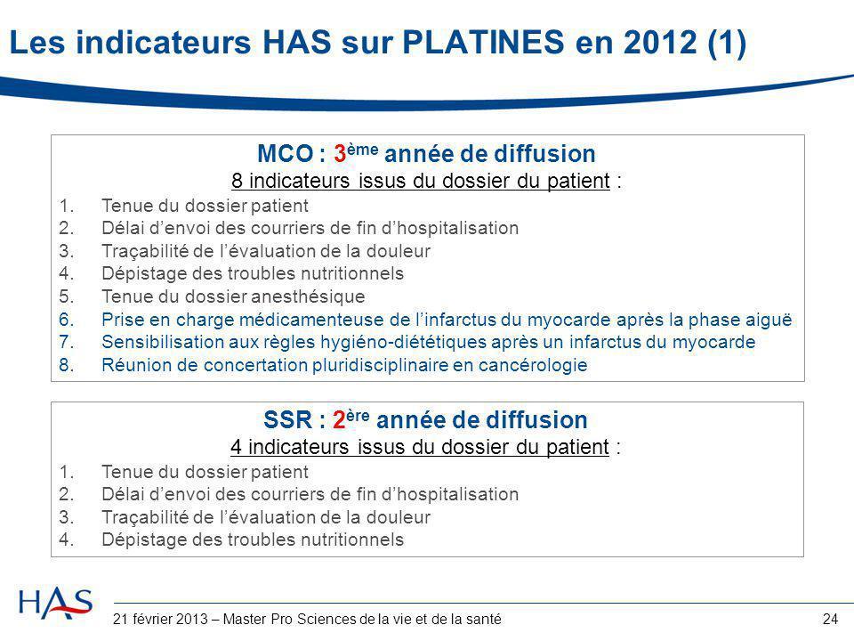 24 Les indicateurs HAS sur PLATINES en 2012 (1) MCO : 3 ème année de diffusion 8 indicateurs issus du dossier du patient : 1.Tenue du dossier patient