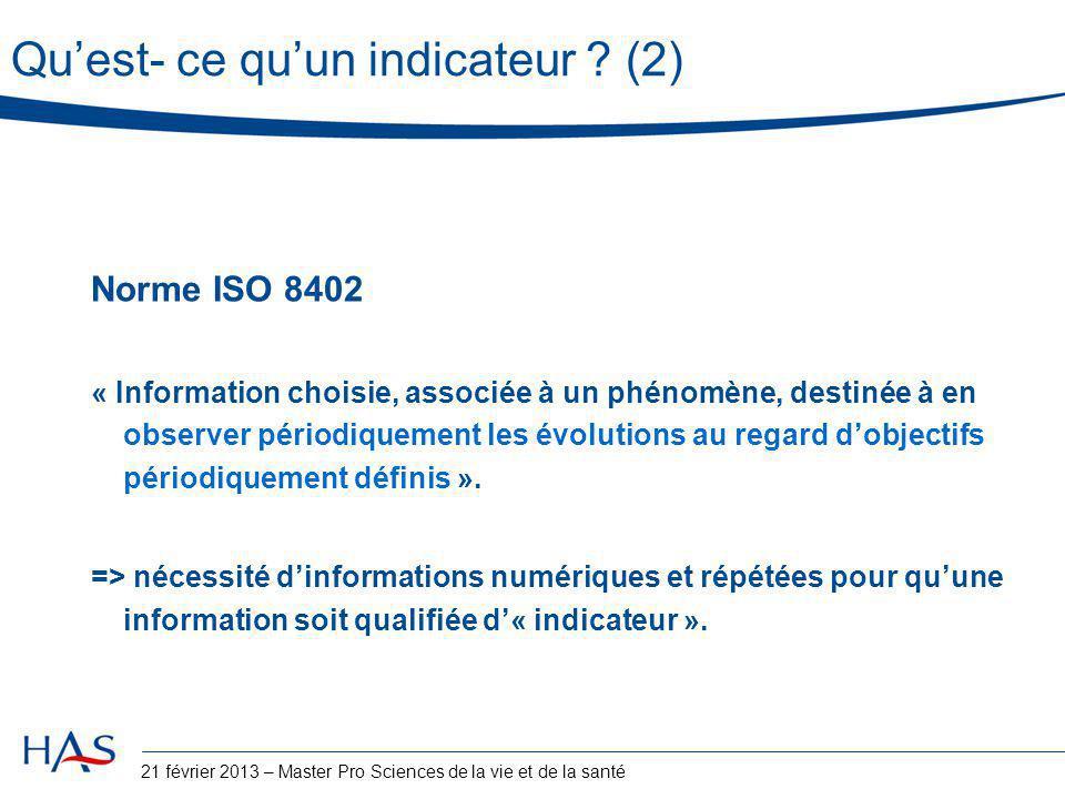 Qu'est- ce qu'un indicateur ? (2) Norme ISO 8402 « Information choisie, associée à un phénomène, destinée à en observer périodiquement les évolutions