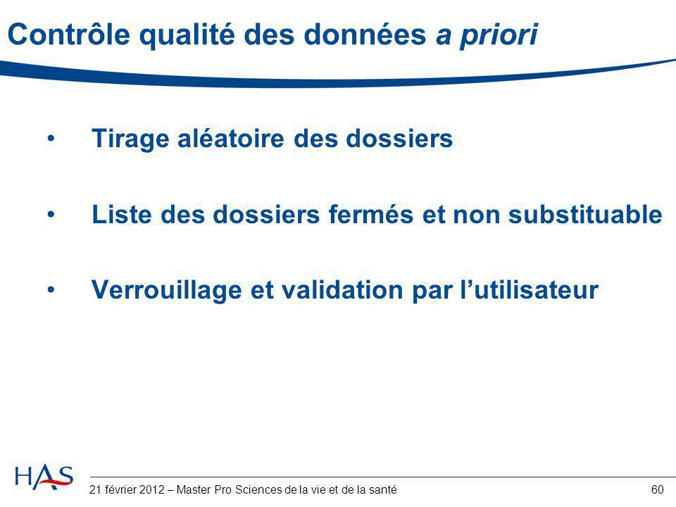 Contrôle qualité des données a priori Tirage aléatoire des dossiers Liste des dossiers fermés et non substituable Verrouillage et validation par l'uti
