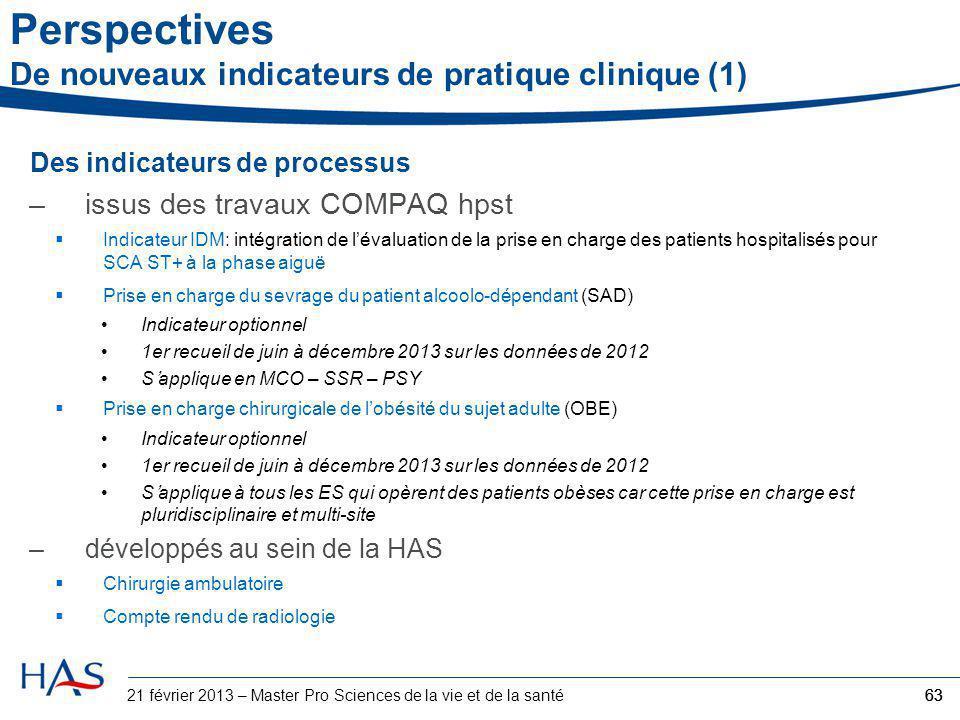 Perspectives De nouveaux indicateurs de pratique clinique (1) Des indicateurs de processus –issus des travaux COMPAQ hpst  Indicateur IDM: intégratio