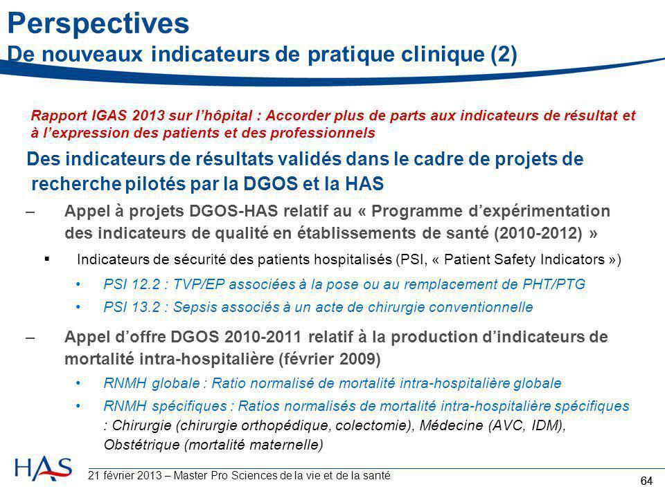 Perspectives De nouveaux indicateurs de pratique clinique (2) Des indicateurs de résultats validés dans le cadre de projets de recherche pilotés par l