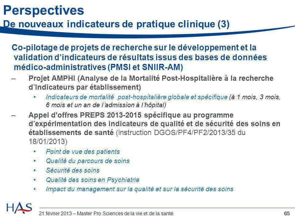 Co-pilotage de projets de recherche sur le développement et la validation d'indicateurs de résultats issus des bases de données médico-administratives