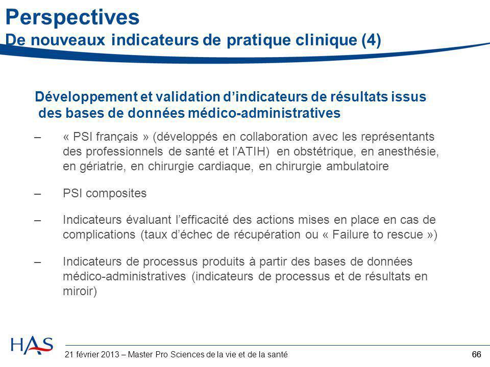Développement et validation d'indicateurs de résultats issus des bases de données médico-administratives –« PSI français » (développés en collaboratio