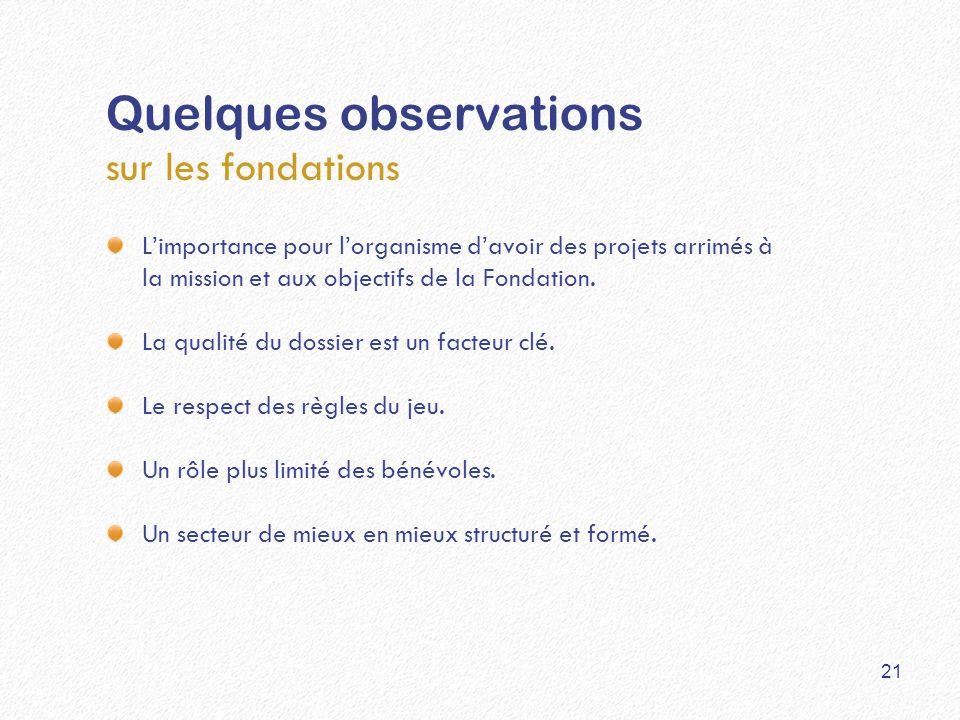 Quelques observations sur les fondations L'importance pour l'organisme d'avoir des projets arrimés à la mission et aux objectifs de la Fondation.