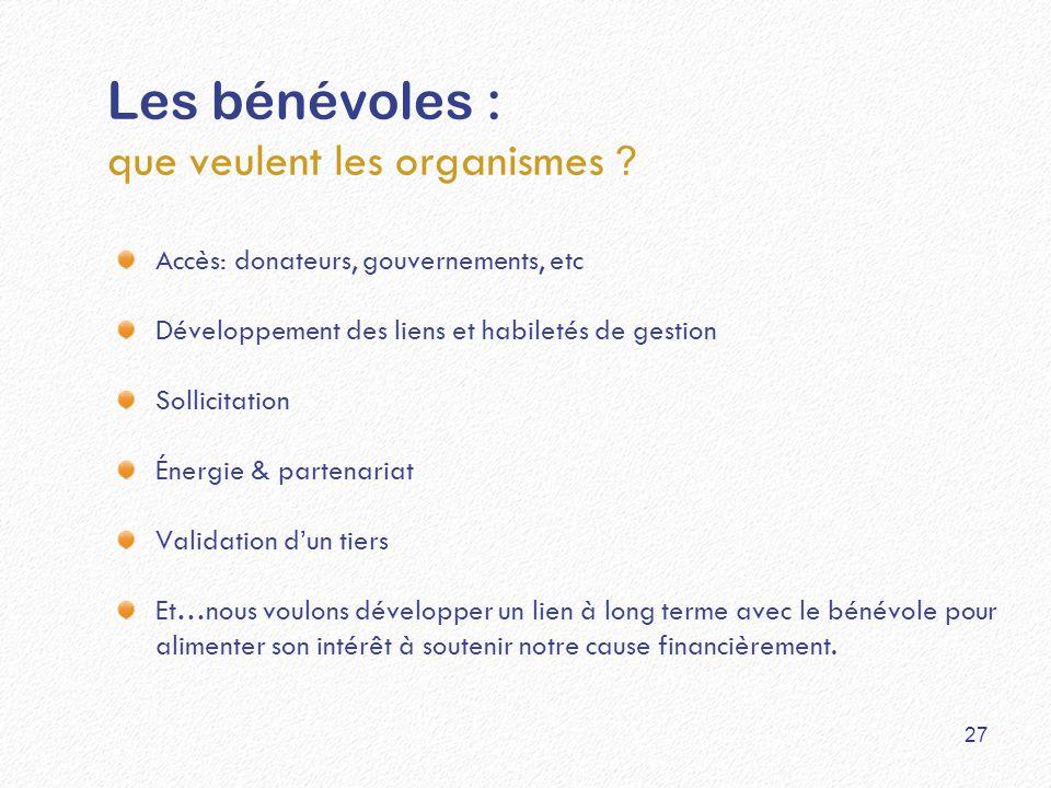 Les bénévoles : que veulent les organismes ? Accès: donateurs, gouvernements, etc Développement des liens et habiletés de gestion Sollicitation Énergi