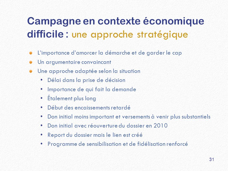 Campagne en contexte économique difficile : une approche stratégique L'importance d'amorcer la démarche et de garder le cap Un argumentaire convaincan
