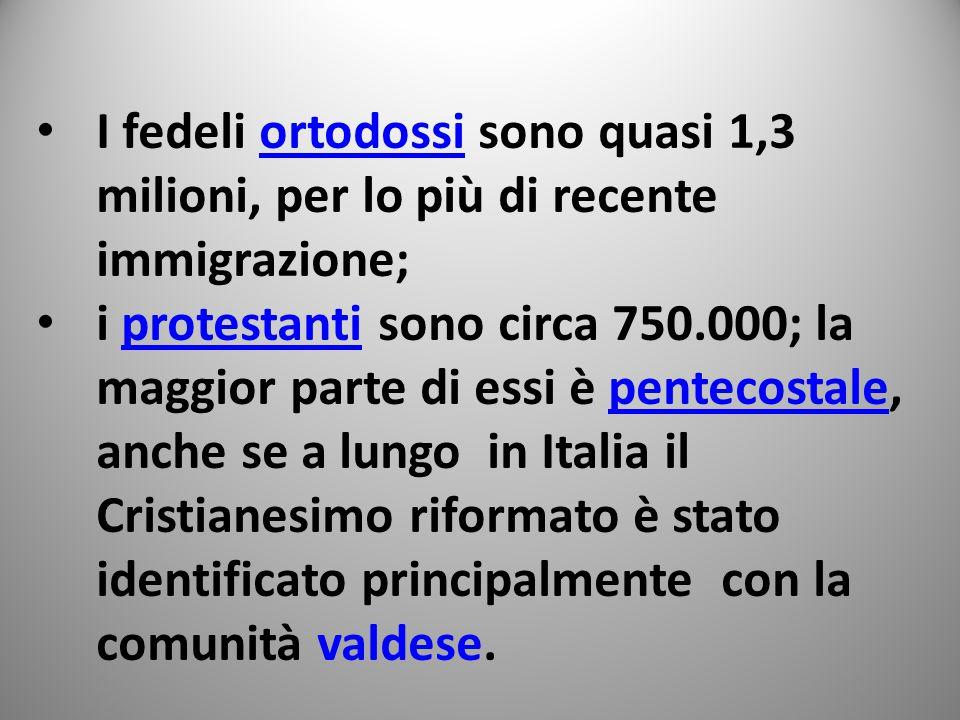 I fedeli ortodossi sono quasi 1,3 milioni, per lo più di recente immigrazione;ortodossi i protestanti sono circa 750.000; la maggior parte di essi è pentecostale, anche se a lungo in Italia il Cristianesimo riformato è stato identificato principalmente con la comunità valdese.protestantipentecostale