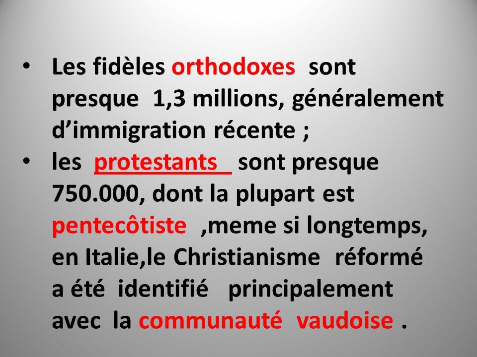 Les fidèles orthodoxes sont presque 1,3 millions, généralement d'immigration récente ; les protestants sont presque 750.000, dont la plupart est pentecôtiste,meme si longtemps, en Italie,le Christianisme réformé a été identifié principalement avec la communauté vaudoise.