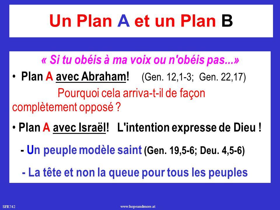 SFR742 www.hopeandmore.at Un Plan A et un Plan B « Si tu obéis à ma voix ou n'obéis pas...» Plan A avec Abraham! (Gen. 12,1-3; Gen. 22,17) Pourquoi ce